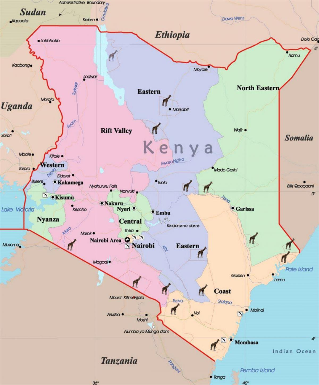 Kenia Mapa Mapa De Kenia Africa Oriental Y Africa